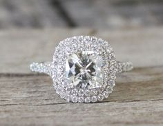 SET  7mm Cushion Moissanite Diamond Split Shank by Studio1040, $3900.00