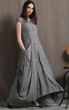 Robe en lin gris - Long Maxi Boho Style Short Sleeved Shift Dress with Two Large Pockets Spring Summer Fashion Linen Dresses, Women's Dresses, Fashion Dresses, Pageant Dresses, Styles Courts, Mode Hippie, Boho Stil, Dressy Tops, Feminine Fashion