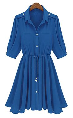 Blue Half Sleeve Drawstring Buttons Chiffon Dress - Sheinside.com