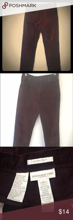 "Jones New York Corduroy Pants Maroon Size 14 Women's Jones New York Corduroy Pants size 14. These pants are a great maroon/wine color, great for the colder weather. Length 40.25"", Waist 17"", Inseam 29.5"". Thanks for shopping my closet! Jones New York Pants Straight Leg"