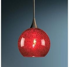 Price: $157.79 Bruck Lighting 220917 Down Light Pendant with Smooth Red Glass Shade from the Bobo Collection