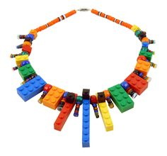 lego necklace with glass beads  www.burcutansug.com