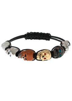 Lucky Skull Black Leather Bracelet