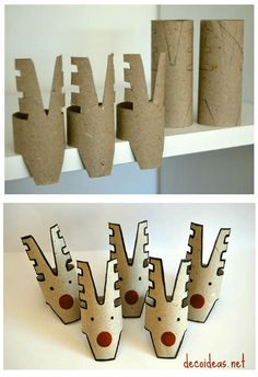 10 Christmas Craft Projects Made Out Of Upcycled Toilet Paper Rolls Cardboard DIY