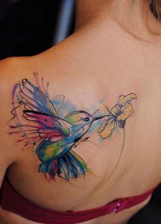 Colorful Bird and Flower Tattoo On Back.