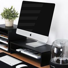 cool Fitueyes Computer Monitor Riser 21.3 inch 2 Tier Shelves Monitor Stand with keyboard Storage Space DT205401WB