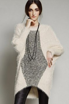 Loose High-low Furry #Sweater- OASAP.com The sweater featuring color block. Furry. Round neck. Long batwing sleeve. High-low hemline. #fashion