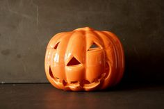Vintage Pumpkin Face Candle Holder by Haeger USA 311 (c.1950s) by ThirdShift
