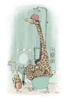 Tall Giraffe in a Bath Tub.