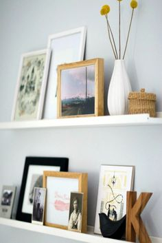 Trendy Wall Gallery Above Couch Mantle Headboard Ideas - Home Living Room, Apartment Living, Living Room Decor, Bedroom Decor, Bedroom Wall, Apartment Ideas, Ikea Picture Ledge, Picture Rail, Photo Ledge Display