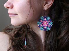 Kaleidoscope Mandala Earrings  Macrame Knotted by FLORIKNOTURE