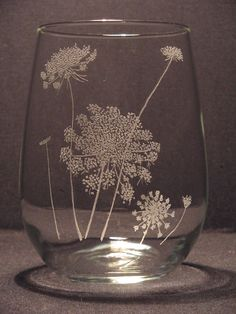 Queen Anne's lace, Etched Stemless Wine Glass Hand Engraved  Design. $25.00, via Etsy.