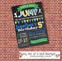 Trampoline Birthday Party invitation jump invite by myooakboutique