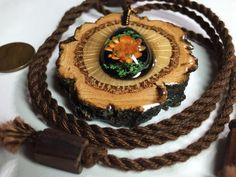 Flower pendant/ cork oak pendant/ wooden by OKAVARKpendants