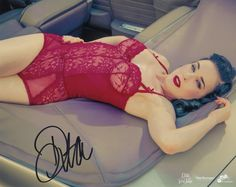 Autographed portrait• Signed by Dita Von Teese•Printed on Kodak Professional Endura lustre paper•8x 10inches Open Edition Authentic editionrubber stamp