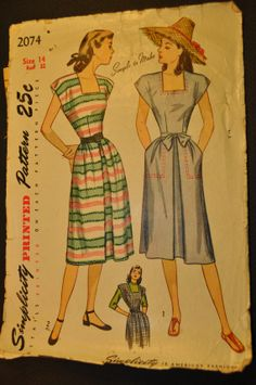 Misses' One Piece Dress or Jumper Size 14 Bust 32 by ClassicCabin - vintage 1940s sewing pattern