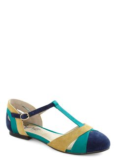 Freesia Flat in Blue by Seychelles - Flat, Leather, Blue, Yellow, Casual