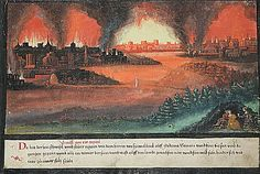"""Folio 4, Genesis 19, 24-26: """"Then the Lord rained upon Sodom and upon Gomorrah brimstone and fire from the Lord out of heaven; And he overthrew those cities, and all the plain, and all the inhabitants of the cities, and that which grew upon the ground. But his wife looked back from behind him, and she became a pillar of salt."""" Augsburger Wunderzeichenbuch, c. 1550"""