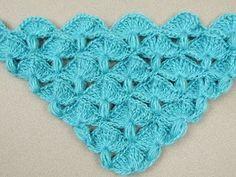Crochet: Punto Abanico y Puff en V - YouTube
