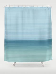 Abstract Ocean Blue and Mint Shower Curtain