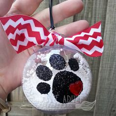 Glitter Paw Christmas Ornament 3 Glass or by TheCreativeAdult Hand Painted Ornaments, Diy Christmas Ornaments, Christmas Balls, Christmas Art, Holiday Crafts, Dog Ornaments, Christmas Decorations, Decorating Ornaments, Christmas Ideas