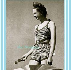 Crochet Pattern Vintage-1940 Crochet Bikini by Liloumariposa