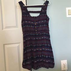 Indigo dress from forever21 Tribal print, striped pattern on back, three buttons on the front, belt loop, worn once, good condition Forever 21 Dresses Mini