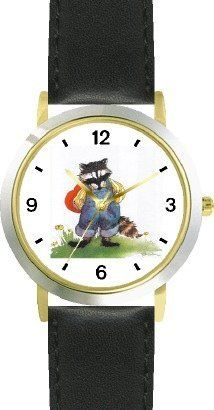Raccoon in Overalls Holding Valentine's Day Heart by Artist: Sylvia Long - WATCHBUDDY® DELUXE TWO-TONE THEME WATCH - Arabic Numbers - Black Leather Strap-Size-Children's Size-Small ( Boy's Size & Girl's Size ) WatchBuddy. $49.95