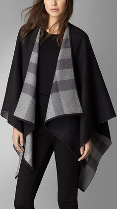 Charcoal check Check-Lined Wool Wrap - Image 1