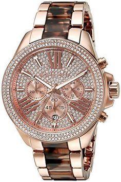 Michael Kors Women'S Wren Pavé Acetate Crystal Rose Gold Tone Watch Mk6159