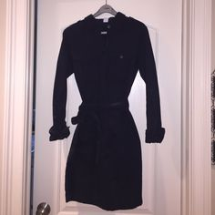 J Crew shirt dress Navy blue.  Mint condition.  100% cotton ( feels like a denim shirt).  Sleeves can bed worn long or buttoned at elbow. Has a belt. Ties at waist J Crew Dresses