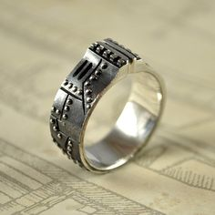 Steampunk industrial silver ring  sterling silver by GatoJewel