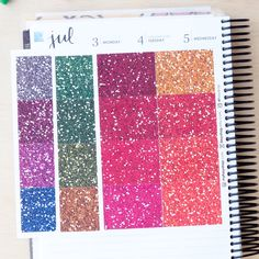 192 Blank Glitter Headers -  DARK-TONE Colors Sticker Planner // ECLP Vertical by FasyShop on Etsy