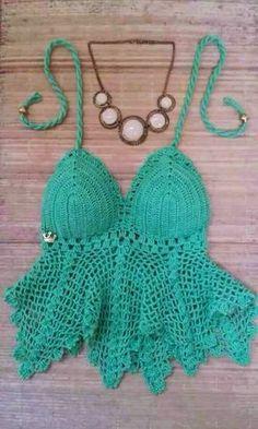 Edna Confecções em Crochê : Cropped em crochê