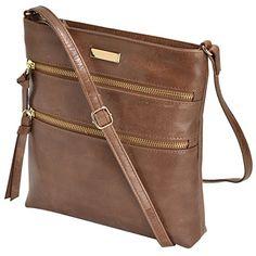 4cfd6211ca Estalon Leather Crossbody Bag Cross Over Purse Messenger Bags for Women Cross  Body Shoulder Handbag (Tan Waxy)