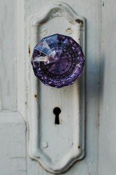 ~ Amethyst color, Antique glass door knob, loving it, I think it's my favorite. Glass Door Knobs, The Doors, Front Doors, Knobs And Knockers, Boho Home, Bohemian Homes, Purple Glass, Purple Door, Turquoise Door