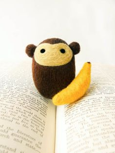 Needle Felted Morton the Monkey with Banana by *brynne, via Flickr