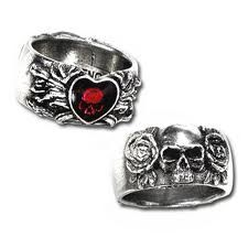 Skull Wedding RingGoth Engagement RingWomans by KipkalinkaJewels ...