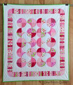 Crib Quilt, Baby Girl, pink, white, green, Peppermint, polka dot, patchwork, handmade soft blanket.