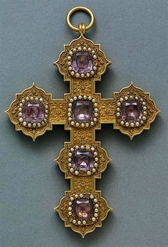 GOLD PINK TOURMALINE AND SEED PEARL CROSS PENDANT.
