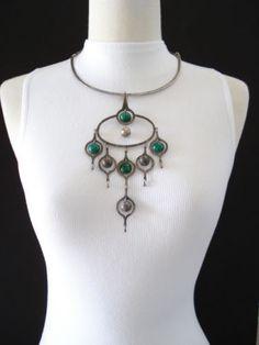 Vintage Peru Modernist Sterling Silver Peruvian Large Statement Necklace | eBay