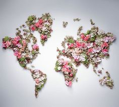 World Map by DIOR. From a beautiful press-release about Les Jardins de Dior, received Apr Floral Vintage, Deco Floral, Arte Floral, Floral Design, Map Design, Floral Wall, Design Ideas, Graphic Design, Perfume Floral