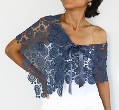 Cotton Lace Stole Dark State Blue Shoulder Wrap by mammamiaeme, $44.00