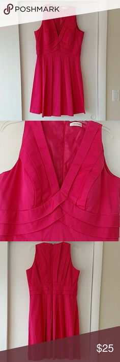 Calvin Klein pink party dress Built in bra cups. Sleeveless pleated neckline, front and back. Hidden zipper closure on back. Dry clean only. Calvin Klein Dresses