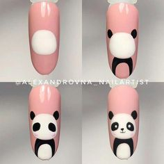 """Figure out even more info on """"nail paint ideas"""". Check out our website. Cute Nail Art, Nail Art Diy, Beautiful Nail Art, Diy Nails, Cute Nails, Pretty Nails, Manicure, Panda Nail Art, Animal Nail Art"""