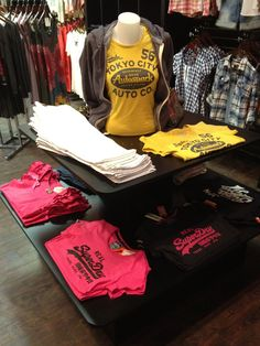 SuperDry display for Revolution Boutique by Flourish Design & Merchandising.  Visual merchandising, display, retail design