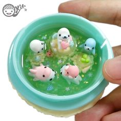 Kawaii Miniatures Polymer clay Mamegoma in Macaron Pond Details: - Mamegoma made from polymer clay - Water from resin - Size 7 x 7 x 3 cm. ❤️ ❤️ ❤️ Made wi...