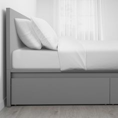 IKEA - MALM, High bed storage boxes, gray stained, The 4 large drawers on casters give you an extra storage space under the bed. Adjustable bed sides allow you to use mattresses of different thicknesses. Slatted bed base and mattress sold separately. High Bed Frame, Malm Bed Frame, Grey Bed Frame, Bed Frame With Headboard, Queen Bed Frames, Under Bed Storage, Storage Boxes, Storage Spaces, Extra Storage