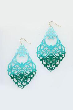 Kaylee Chandelier Earrings in Teal Ombre
