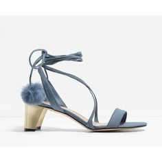 CHARLES & KEITH Pom Pom Lace Up Sandals (£45) ❤ liked on Polyvore featuring shoes, sandals, blue, laced shoes, charles keith shoes, lace up sandals, laced up shoes and laced sandals
